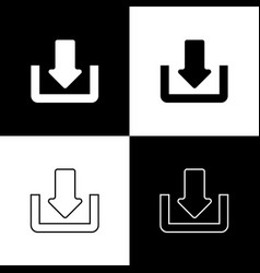 set download icons isolated on black and white vector image