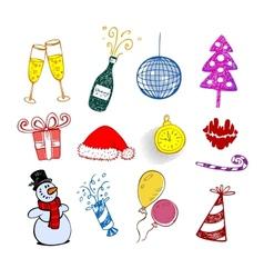 Set of Christmas ornaments vector