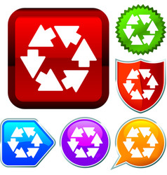 Set shiny icon series on buttons cycle vector