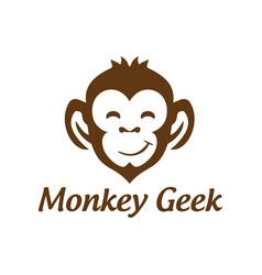 smile monkey geek logo design vector image