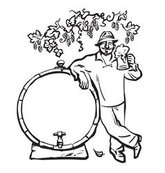 smiling man with beer mug leaning on barrel under vector image