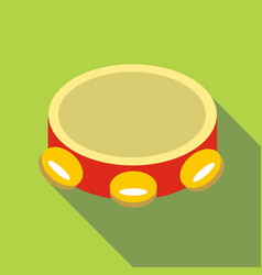 tambourine icon flat style vector image