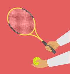 tennis racket and ball in hand vector image