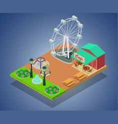 theme park concept banner isometric style vector image