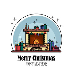 thin line christmas fireplace with gifts and vector image
