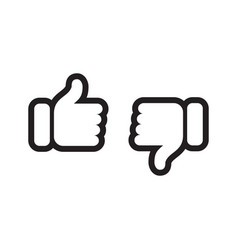 thumb up down like and unlike line icons vector image