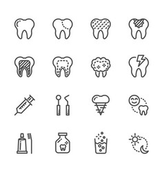 tooth and dental healthcare and medical icons vector image vector image
