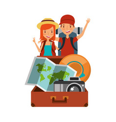 travelers couple with backpack suitcase map camera vector image