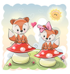 Two cute cartoon foxes vector