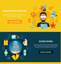 underwater shooting horizontal banners vector image