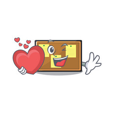 With heart bulletin board isolated in mascot vector