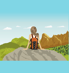 woman traveler sitting on rocks looking at vector image