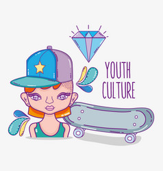 Youth culture millenial woman cartoon vector