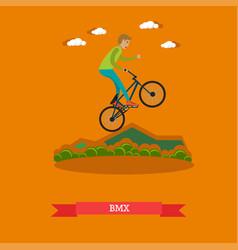 boy riding bmx bike in flat vector image