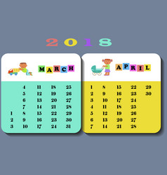 calendar 2018 with cute children vector image