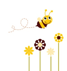 Cute flying Bee with flowers isolated on white vector image