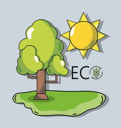 Tree with sun to ecology protection and vector