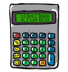 cartoon image of calculator mathematics symbol vector image vector image