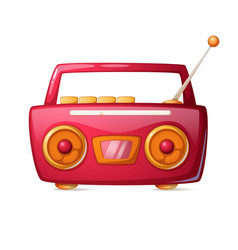 cartoon red radio music icon vector image