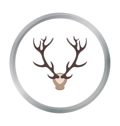 Deer antlers horns icon in cartoon style isolated vector image
