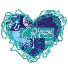 heart with elements of marine life vector image