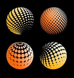 set abstract halftone 3d spheres 5 vector image