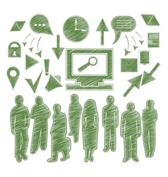 Set isolated icon people arrow gadgets vector image vector image