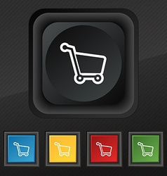 Shopping cart icon symbol Set of five colorful vector image vector image