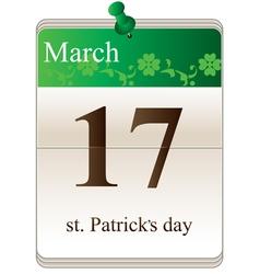 St Patricks Day Calendar vector image vector image