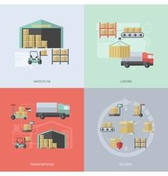 Warehouse Flat Set vector image