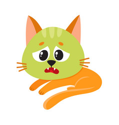 cat kitten feeling sick to stomach green from vector image vector image