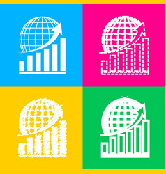 growing graph with earth four styles of icon on vector image vector image