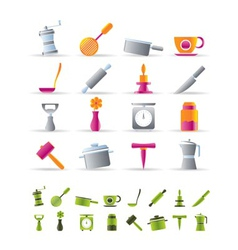 kitchen and household tools icons vector image