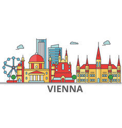 vienna city skyline buildings streets vector image