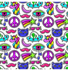 Cute fashioned patches with eye and pink mustache vector image vector image
