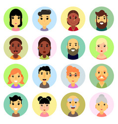 icons set flat design people nationality vector image