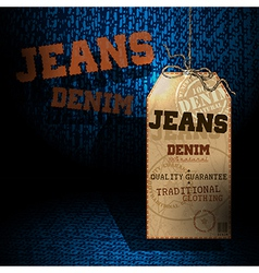 Jeans background tag vector image
