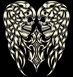 Ornate Skull With Cross vector image vector image