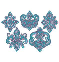 set of henna floral elements vector image