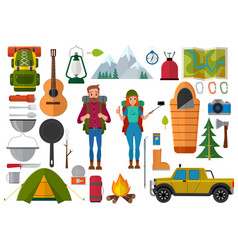 set of hiking people and camping elements vector image vector image