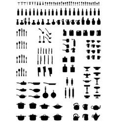 silhouettes of kitchenware vector image vector image