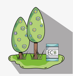 Trees with ecology tank to environment protection vector