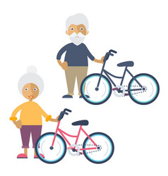 two old people standing beside their bikes vector image vector image