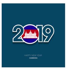 2019 cambodia typography happy new year background vector