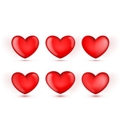 3d glossy red various six hearts set vector image