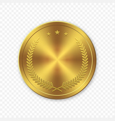 3d realistic gold blank coin isolated vector