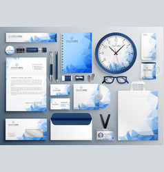 Abstract blue business collateral set vector