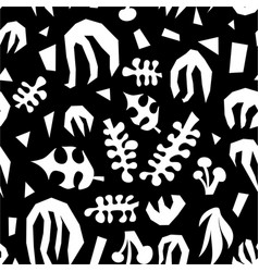 Abstract plants monochrome collage seamless vector