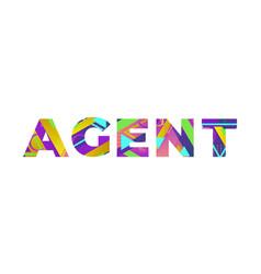 Agent concept retro colorful word art vector