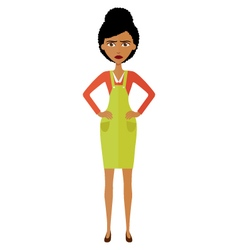 Angry african young woman vector image
